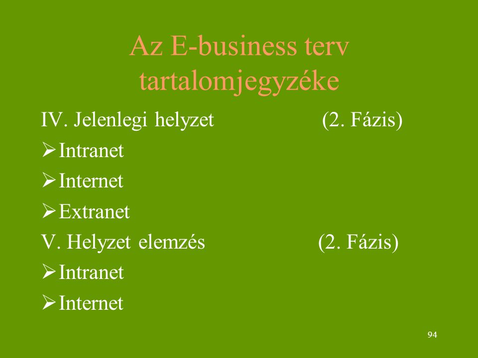 94 Az E-business terv tartalomjegyzéke IV. Jelenlegi helyzet (2. Fázis)  Intranet  Internet  Extranet V. Helyzet elemzés (2. Fázis)  Intranet  In