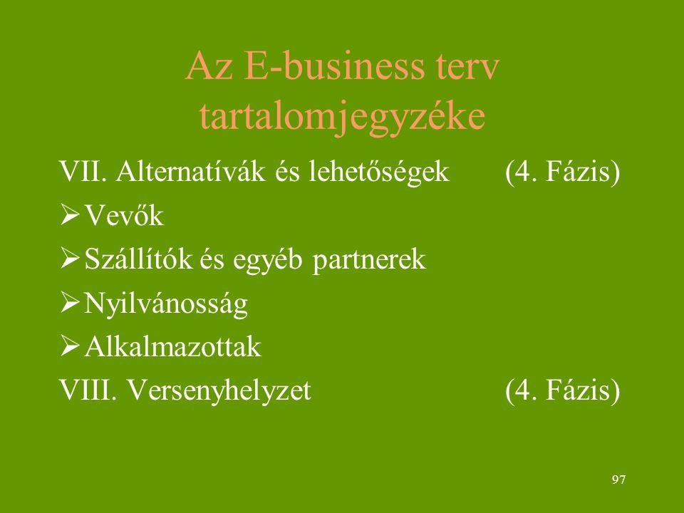 97 Az E-business terv tartalomjegyzéke VII. Alternatívák és lehetőségek (4. Fázis)  Vevők  Szállítók és egyéb partnerek  Nyilvánosság  Alkalmazott