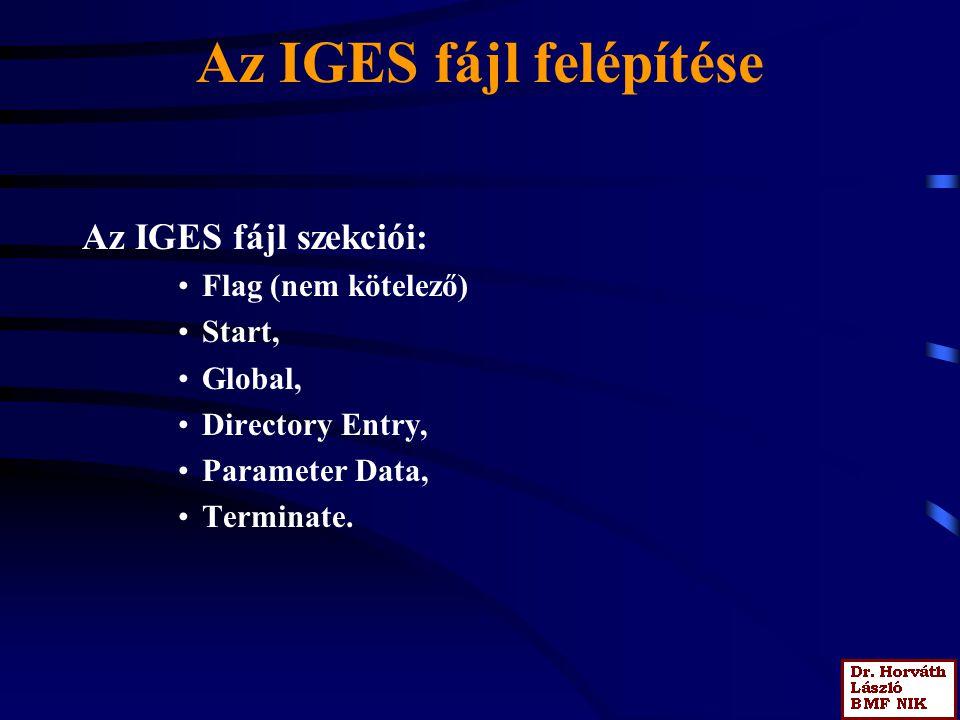 Az IGES fájl felépítése Az IGES fájl szekciói: Flag (nem kötelező) Start, Global, Directory Entry, Parameter Data, Terminate.
