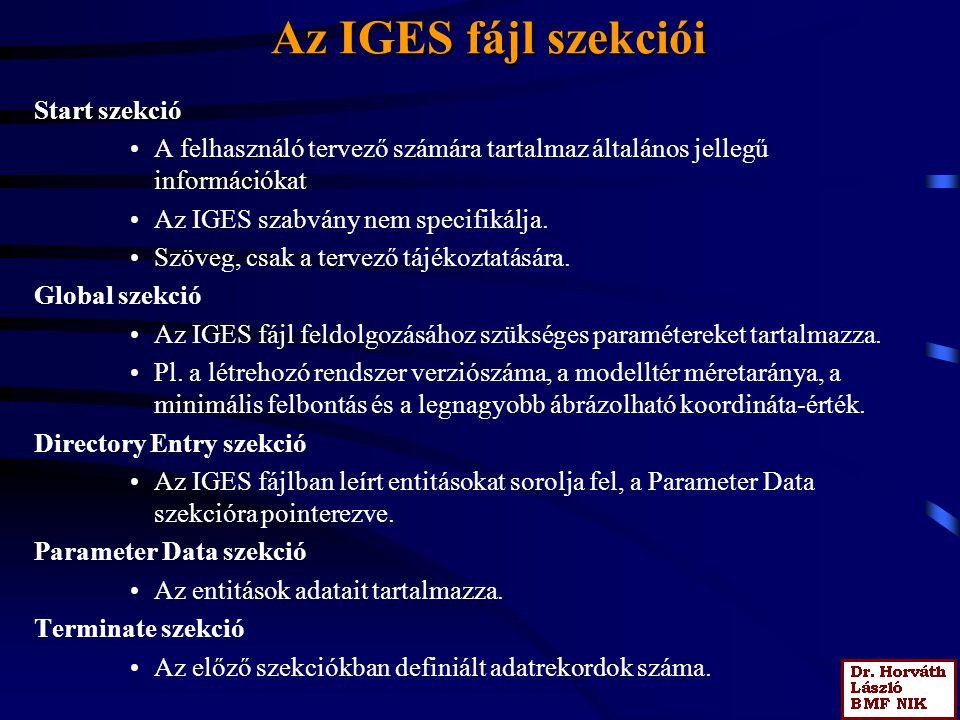 Az IGES fájl szekciói Start szekció A felhasználó tervező számára tartalmaz általános jellegű információkat Az IGES szabvány nem specifikálja.