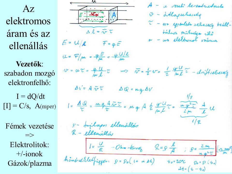 Fémek vezetése => Elektrolitok: +/-ionok Gázok/plazma Vezetők: szabadon mozgó elektronfelhő: I = dQ/dt [I] = C/s, A (mper) Az elektromos áram és az ellenállás