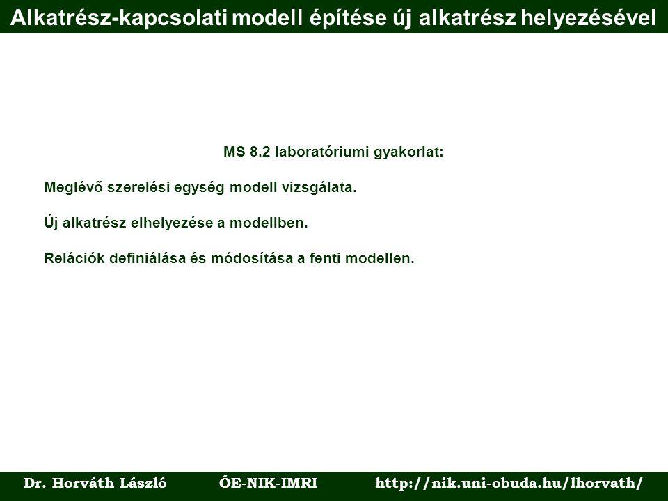 Alkatrész-kapcsolati modell építése új alkatrész helyezésével Dr.