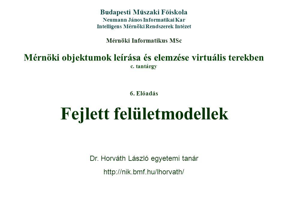 Mérnöki objektumok leírása és elemzése virtuális terekben c.