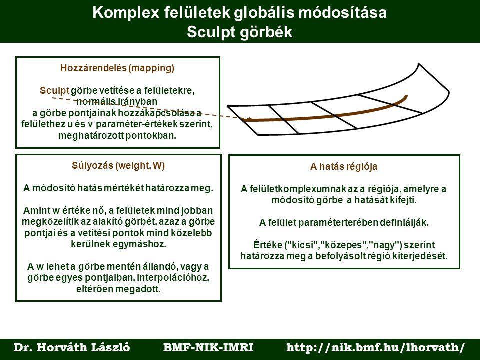 Komplex felületek globális módosítása Sculpt görbék Dr. Horváth László BMF-NIK-IMRI http://nik.bmf.hu/lhorvath/ Hozzárendelés (mapping) Sculpt görbe v
