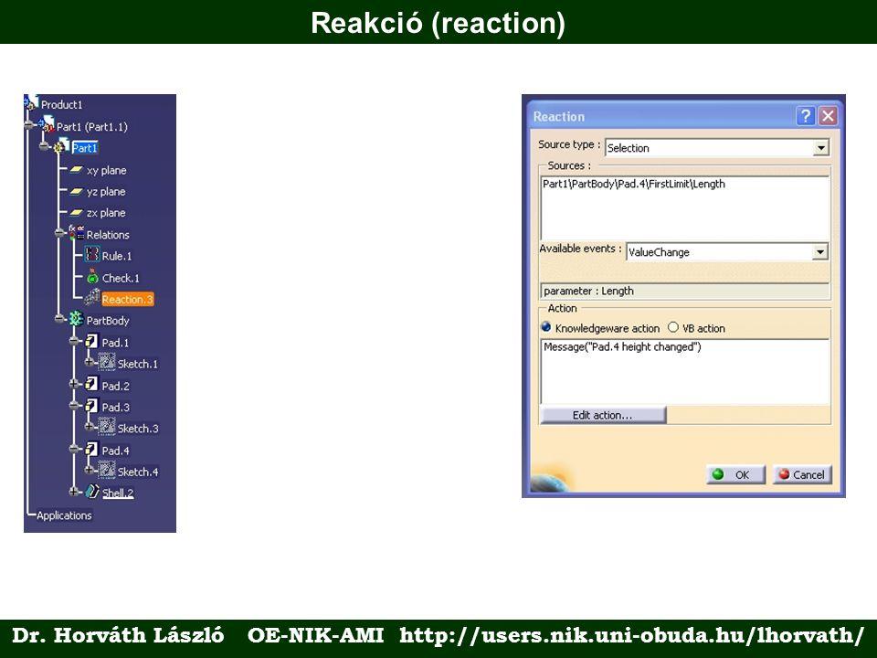 Reakció (reaction) Dr. Horváth László OE-NIK-AMI http://users.nik.uni-obuda.hu/lhorvath/