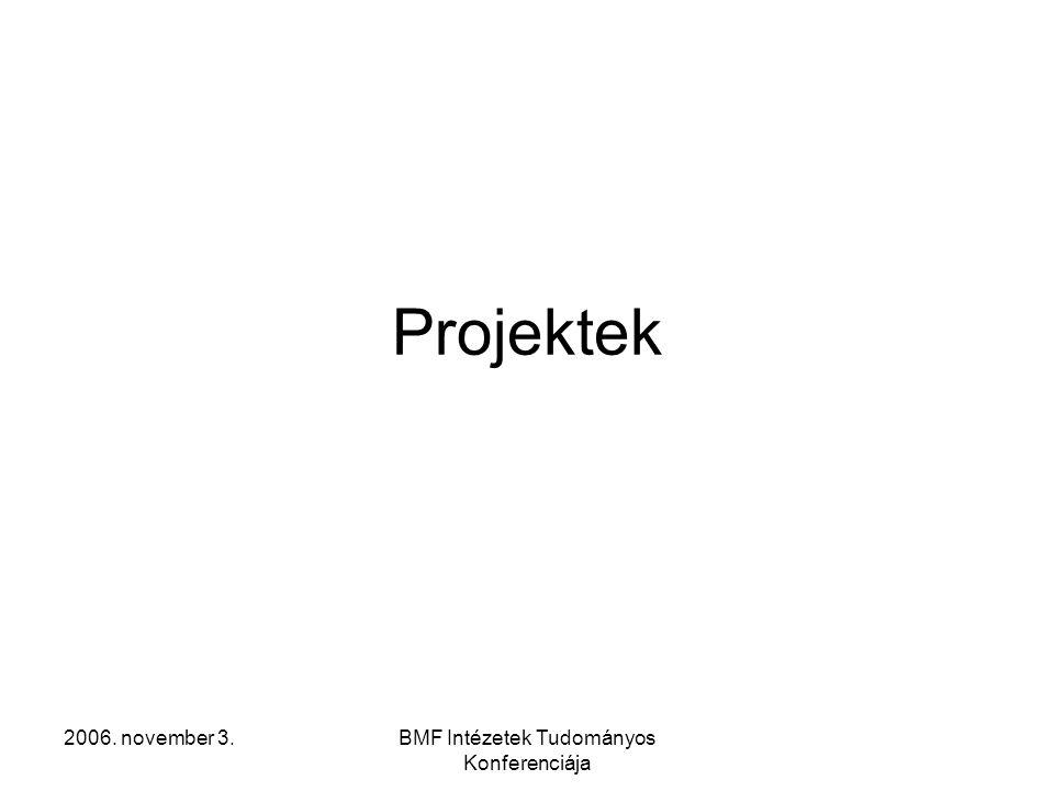 2006. november 3.BMF Intézetek Tudományos Konferenciája Projektek