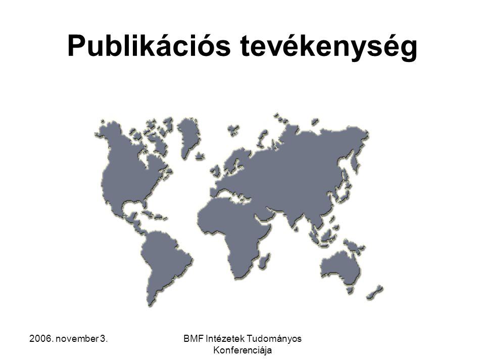 2006. november 3.BMF Intézetek Tudományos Konferenciája Publikációs tevékenység