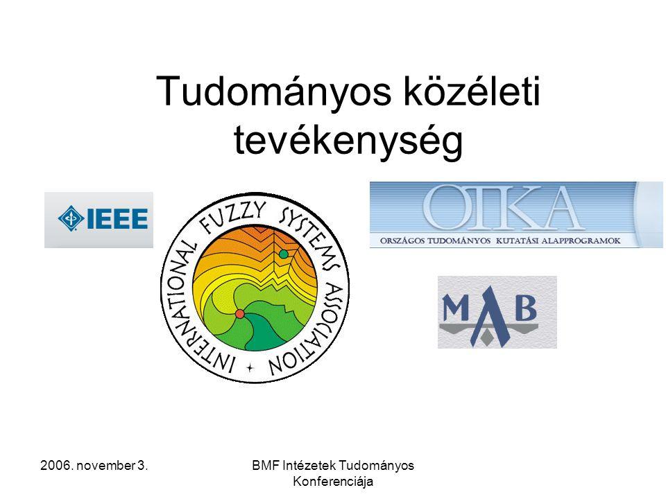 2006. november 3.BMF Intézetek Tudományos Konferenciája Tudományos közéleti tevékenység