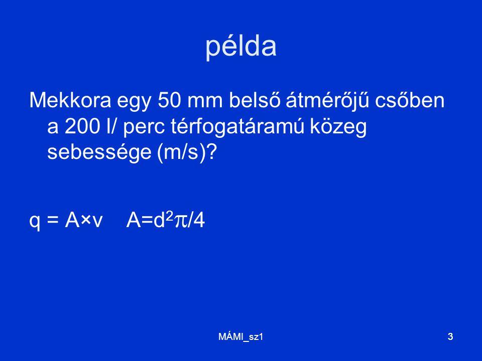 MÁMI_sz133 példa Mekkora egy 50 mm belső átmérőjű csőben a 200 l/ perc térfogatáramú közeg sebessége (m/s)? q = A×v A=d 2  /4