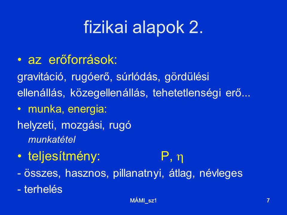 MÁMI_sz17 fizikai alapok 2. az erőforrások: gravitáció, rugóerő, súrlódás, gördülési ellenállás, közegellenállás, tehetetlenségi erő... munka, energia