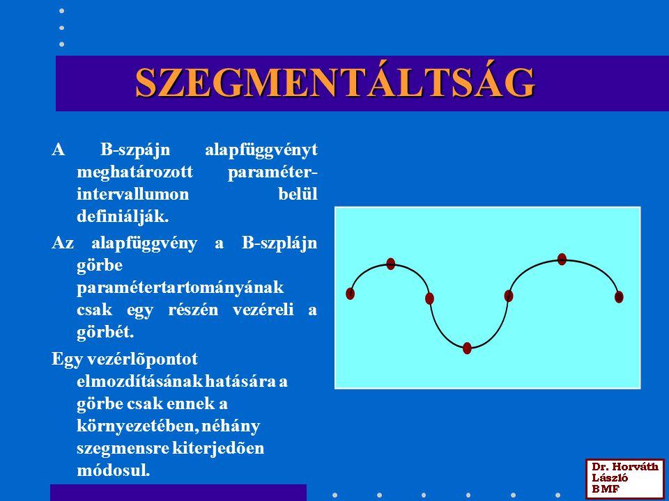 SZEGMENTÁLTSÁG A B-szpájn alapfüggvényt meghatározott paraméter- intervallumon belül definiálják.