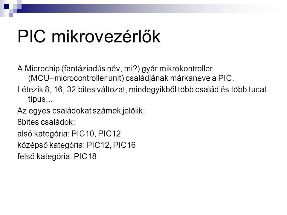PIC mikrovezérlők A Microchip (fantáziadús név, mi ) gyár mikrokontroller (MCU=microcontroller unit) családjának márkaneve a PIC.