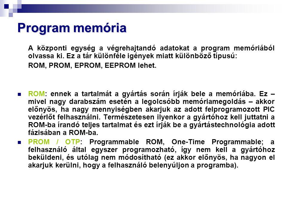 Program memória A központi egység a végrehajtandó adatokat a program memóriából olvassa ki.