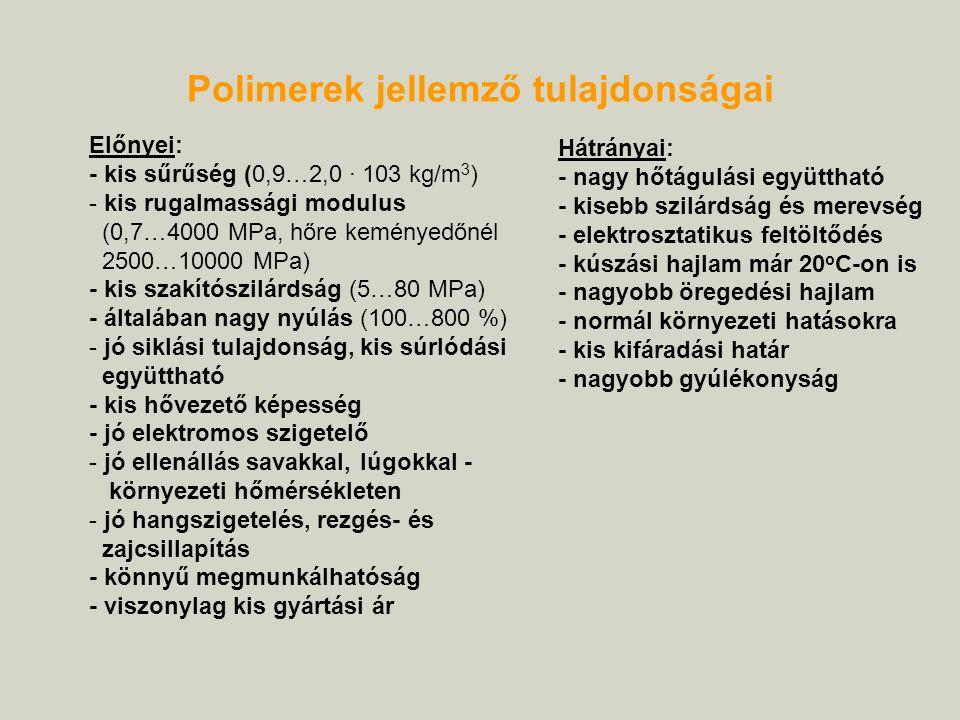 Előnyei: - kis sűrűség (0,9…2,0 · 103 kg/m 3 ) - kis rugalmassági modulus (0,7…4000 MPa, hőre keményedőnél 2500…10000 MPa) - kis szakítószilárdság (5…