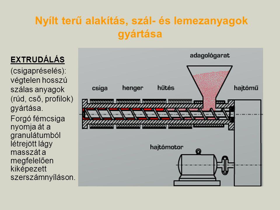 Nyílt terű alakítás, szál- és lemezanyagok gyártása EXTRUDÁLÁS (csigapréselés): végtelen hosszú szálas anyagok (rúd, cső, profilok) gyártása. Forgó fé