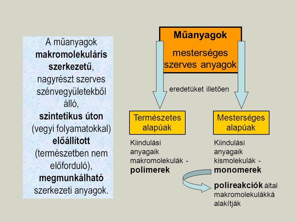 Műanyagok mesterséges szerves anyagok eredetüket illetően Természetes alapúak Mesterséges alapúak Kiindulási anyagaik makromolekulák - polimerek Kiind