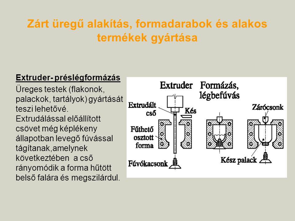 Extruder- préslégformázás Üreges testek (flakonok, palackok, tartályok) gyártását teszi lehetővé. Extrudálással előállított csövet még képlékeny állap