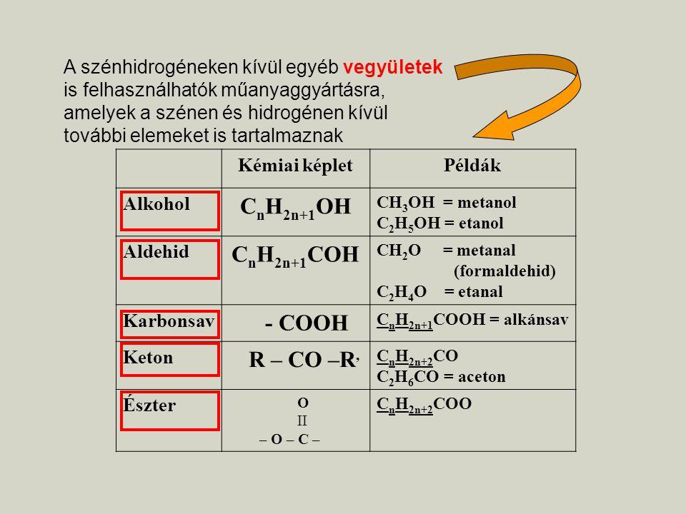 Kémiai képletPéldák Alkohol C n H 2n+1 OH CH 3 OH = metanol C 2 H 5 OH = etanol Aldehid C n H 2n+1 COH CH 2 O = metanal (formaldehid) C 2 H 4 O = etan