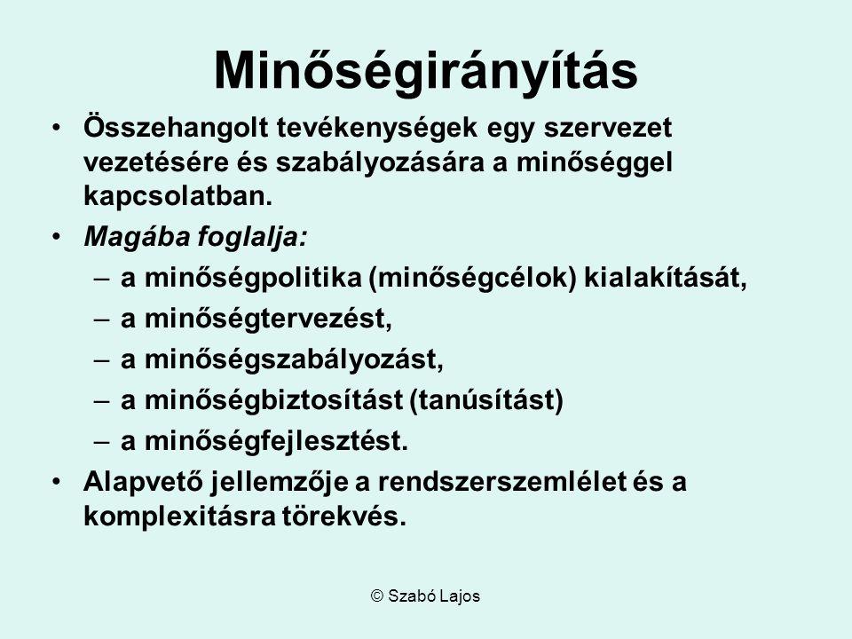 © Szabó Lajos Minőségirányítás Összehangolt tevékenységek egy szervezet vezetésére és szabályozására a minőséggel kapcsolatban.