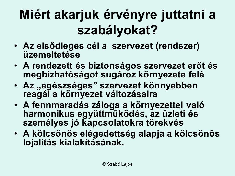 © Szabó Lajos Miért akarjuk érvényre juttatni a szabályokat.