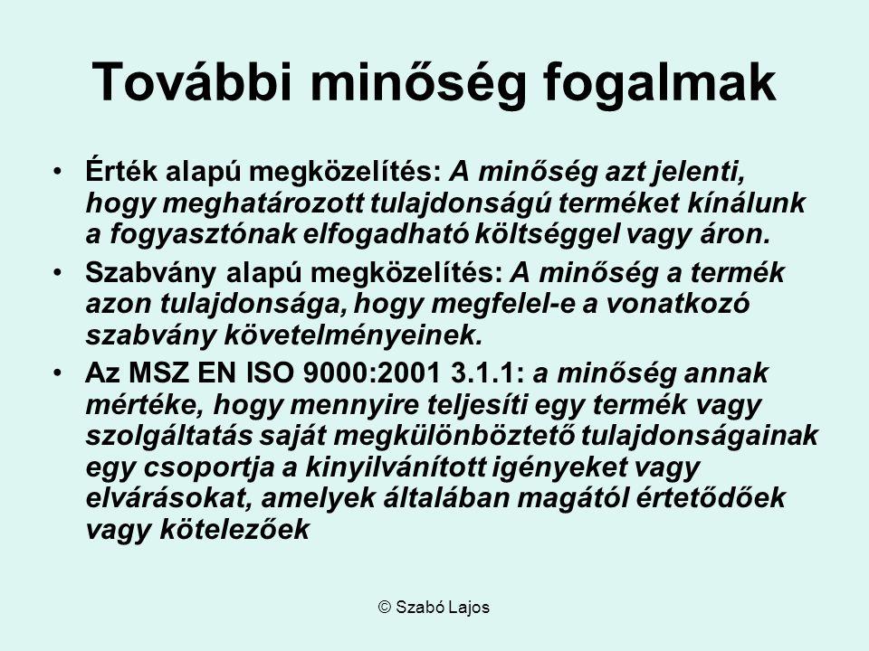 © Szabó Lajos Miért törekszünk a minőségre.A minőségre törekvés minden élő szervezet jellemzője.