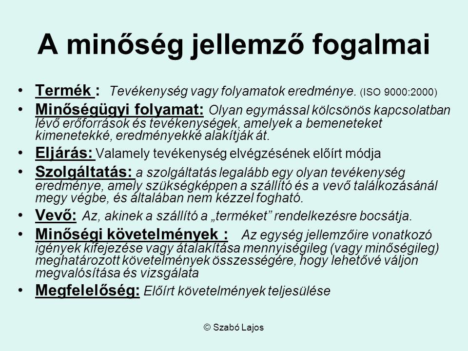 © Szabó Lajos A minőség jellemző fogalmai Termék : Tevékenység vagy folyamatok eredménye.