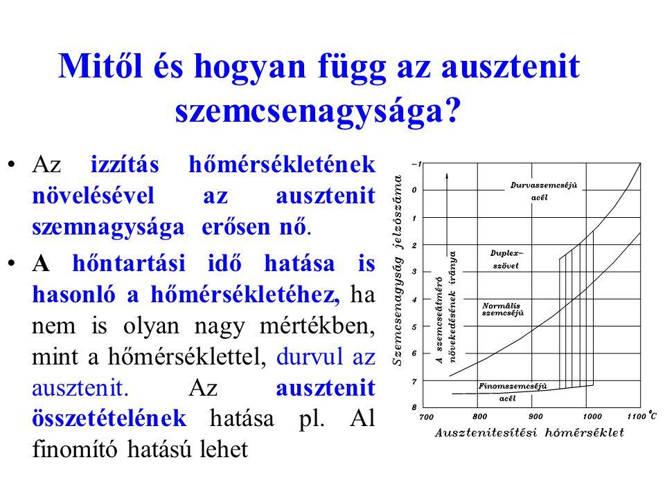 Mitől és hogyan függ az ausztenit szemcsenagysága? Az izzítás hőmérsékletének növelésével az ausztenit szemnagysága erősen nő. A hőntartási idő hatása