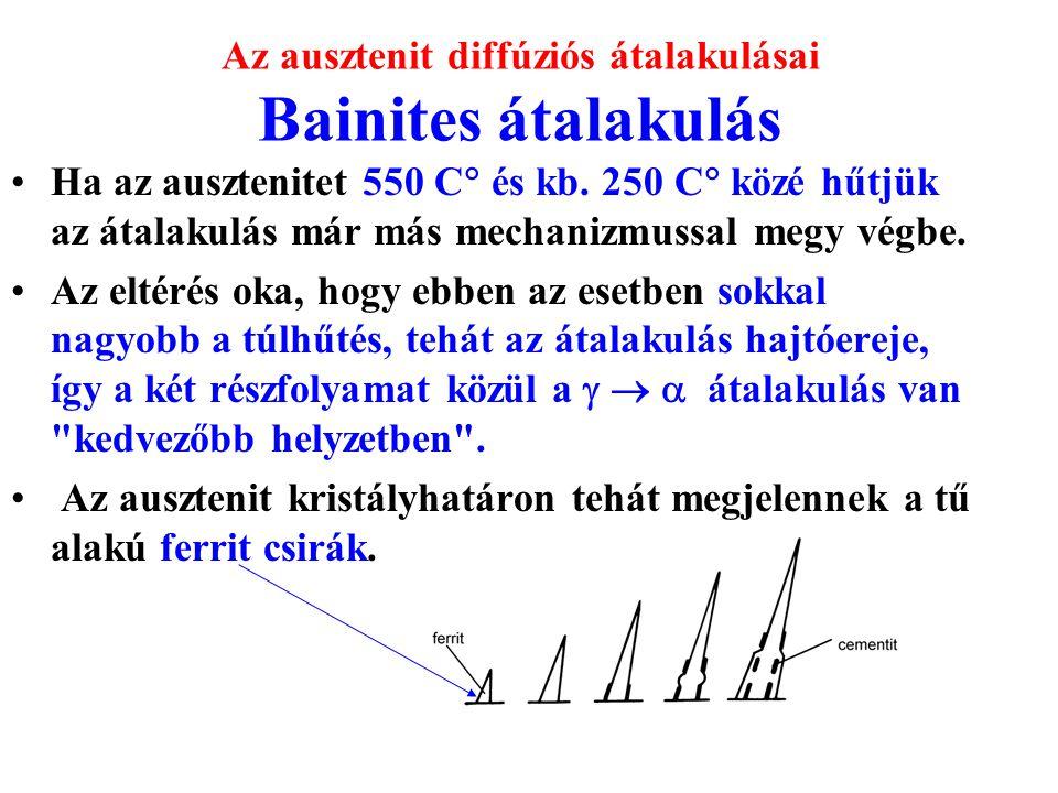 Az ausztenit diffúziós átalakulásai Bainites átalakulás Ha az ausztenitet 550 C  és kb. 250 C  közé hűtjük az átalakulás már más mechanizmussal megy