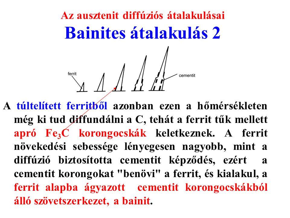 Az ausztenit diffúziós átalakulásai Bainites átalakulás 2 A túltelített ferritből azonban ezen a hőmérsékleten még ki tud diffundálni a C, tehát a fer