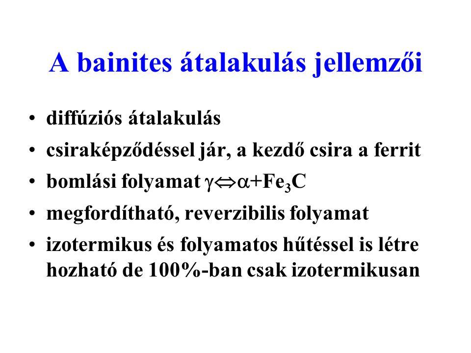 A bainites átalakulás jellemzői diffúziós átalakulás csiraképződéssel jár, a kezdő csira a ferrit bomlási folyamat  +Fe 3 C megfordítható, reverzib
