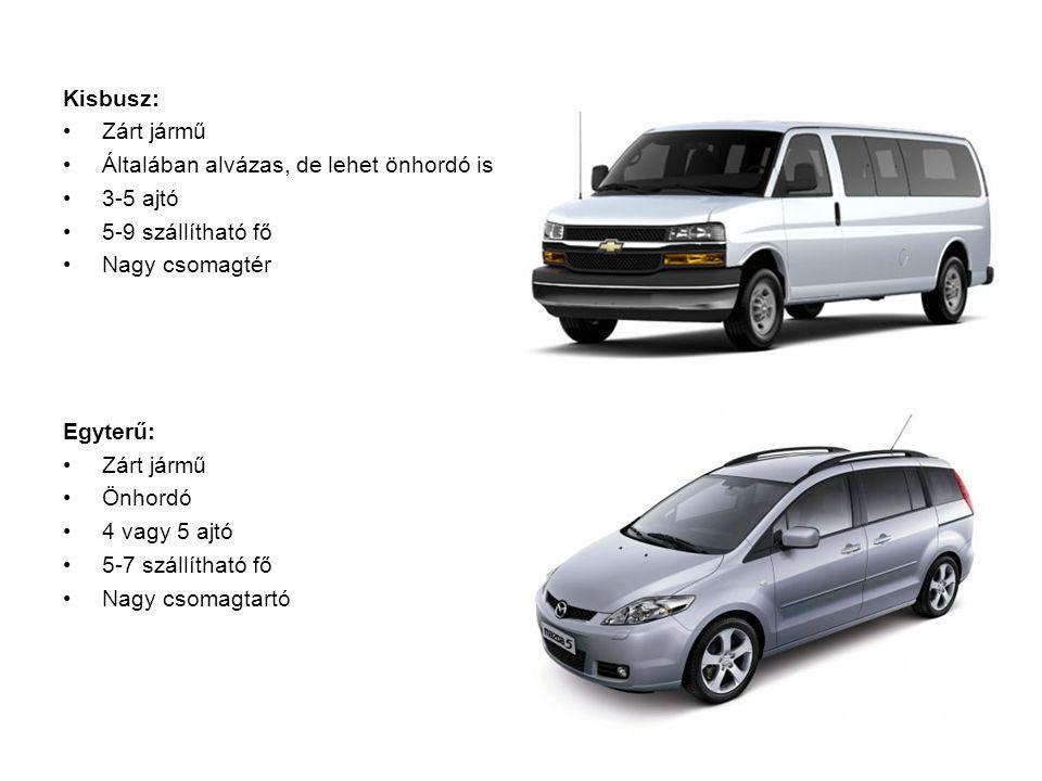 Kisbusz: Zárt jármű Általában alvázas, de lehet önhordó is 3-5 ajtó 5-9 szállítható fő Nagy csomagtér Egyterű: Zárt jármű Önhordó 4 vagy 5 ajtó 5-7 szállítható fő Nagy csomagtartó