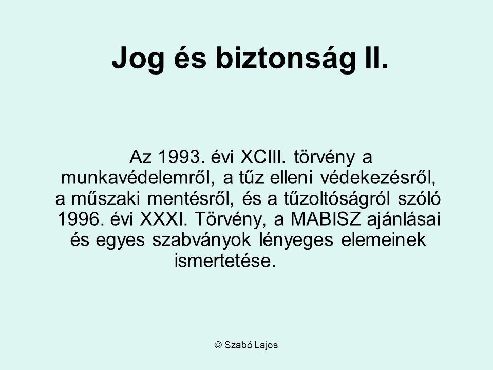 © Szabó Lajos Jog és biztonság II. Az 1993. évi XCIII.