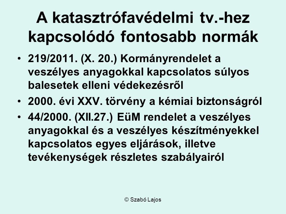 © Szabó Lajos A katasztrófavédelmi tv.-hez kapcsolódó fontosabb normák 219/2011.