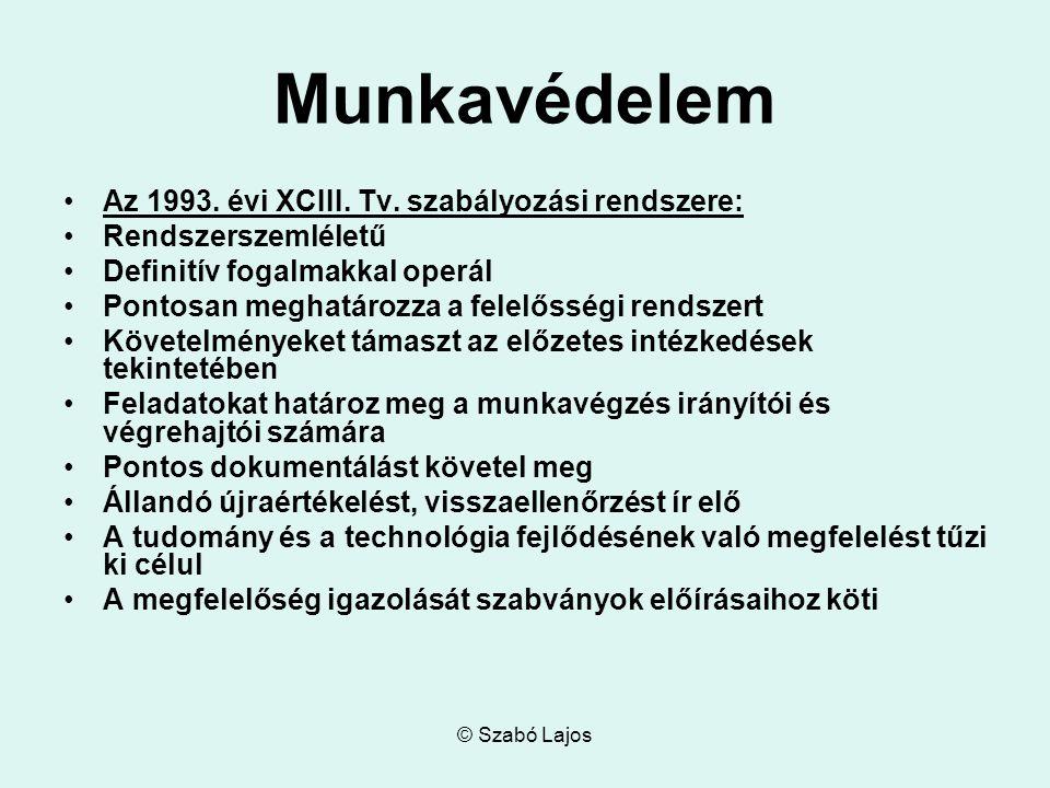 © Szabó Lajos Munkavédelem Az 1993. évi XCIII. Tv.