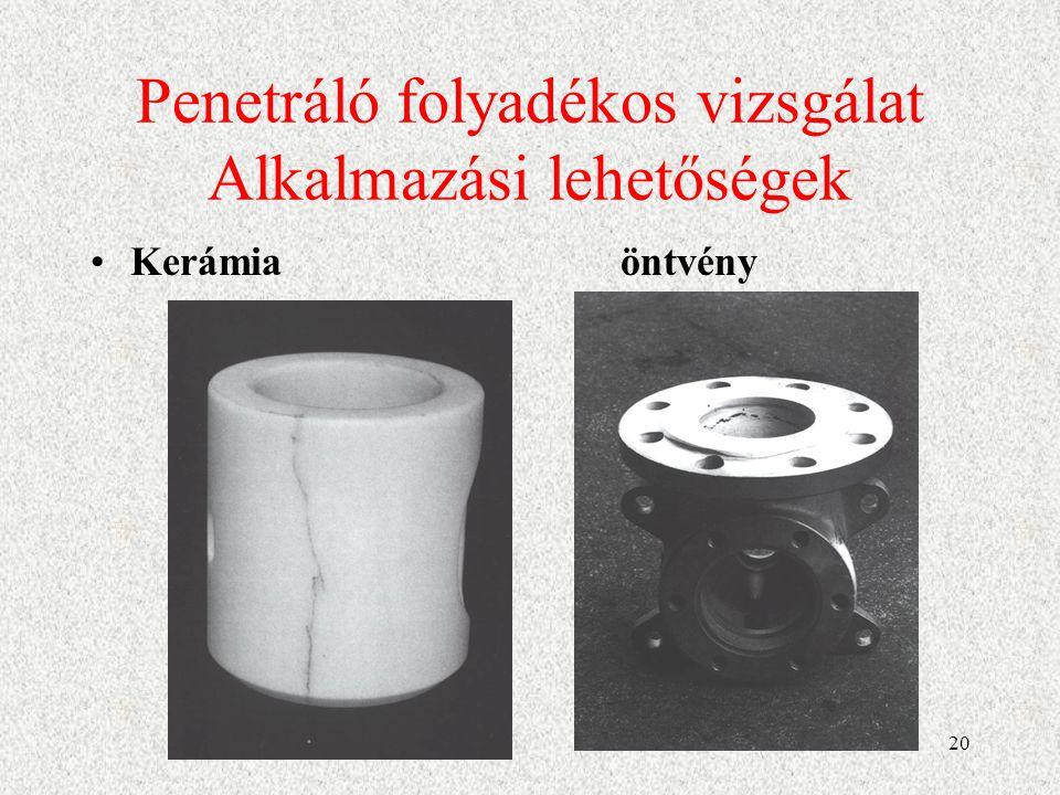 21 Mágneses repedésvizsgálat ferromágneses fémek felületén, vagy felületének közelében lévő szabad szemmel nem, vagy alig látható folytonossági hiányok (repedések, zárványok, pórusosság stb.) kimutatására alkalmas módszer