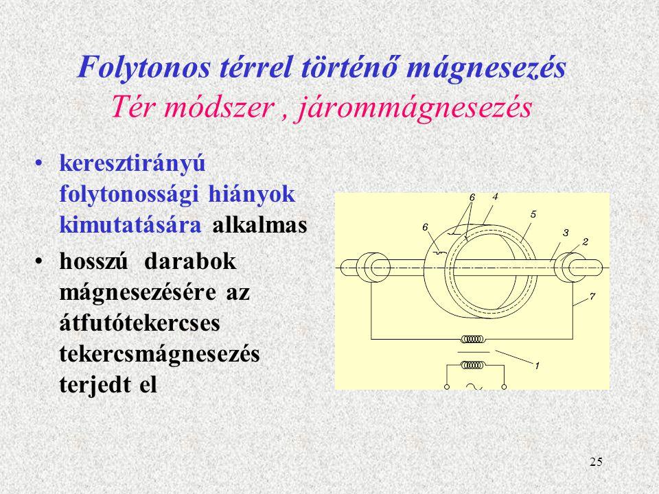 26 Folytonos térrel történő mágnesezés Kombinált mágnesezés kombinált módszerek alkalmazása, melyek egyaránt alkalmasak hossz- és keresztirányú mágneses tér gerjesztésére.