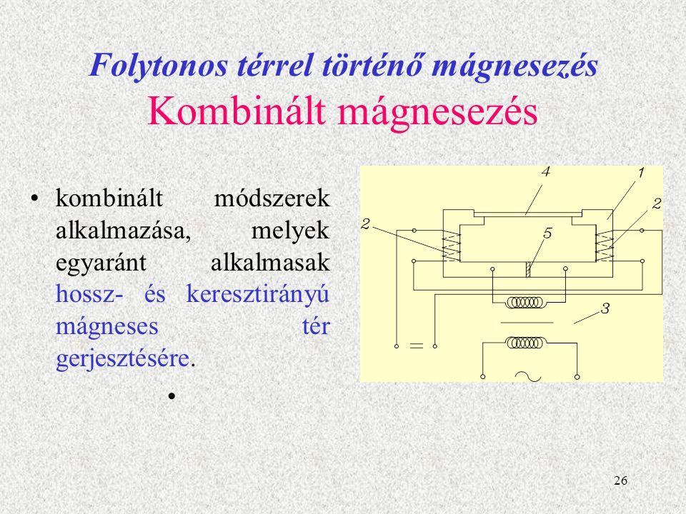 27 Folytonos térrel történő mágnesezés Kombinált mágnesezés A korszerűbb berendezésékben két váltakozó árammal gerjesztett teret szuperponálnak.