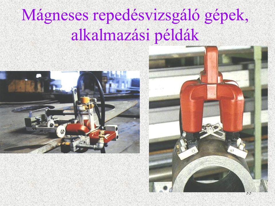 34 Remanencia módszer a darabokat egy erős áramlökéssel mágnesezik fel, és a tulajdonképpeni vizsgálatot már nem a gépben, hanem azon kívül végzik el.