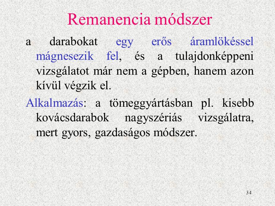 35 Remanencia módszer A hibakimutatás száraz porral történik.