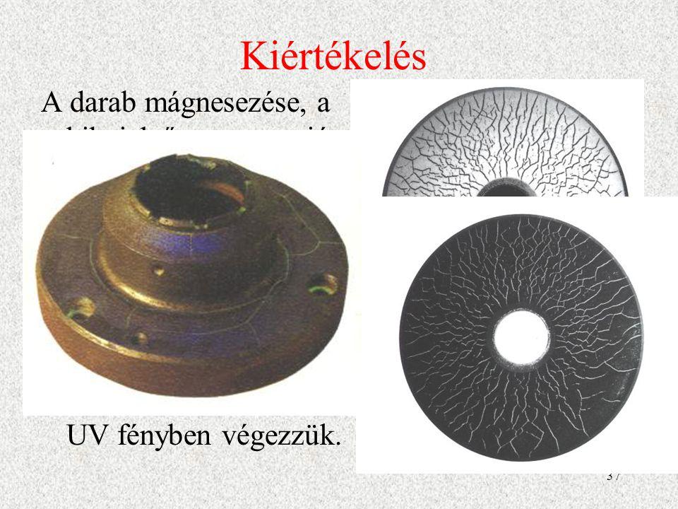 38 Demagnetizálás A darabot demagnetizálni kell, ha :  a remanens mágnesesség miatt a felületre tapadó szemcsék gyors kopást vagy berágódást okozhatnak  valamilyen műszer működését befolyásolja a remanens mágnesesség  a következő megmunkálási műveletet a mágnesesség zavarja pl.