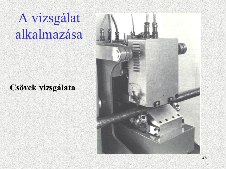 49 Nem mágnesezhető anyagok, Örvényáramos vizsgálat Az örvényáramos vizsgálat az elektromágneses indukció elvén alapszik.