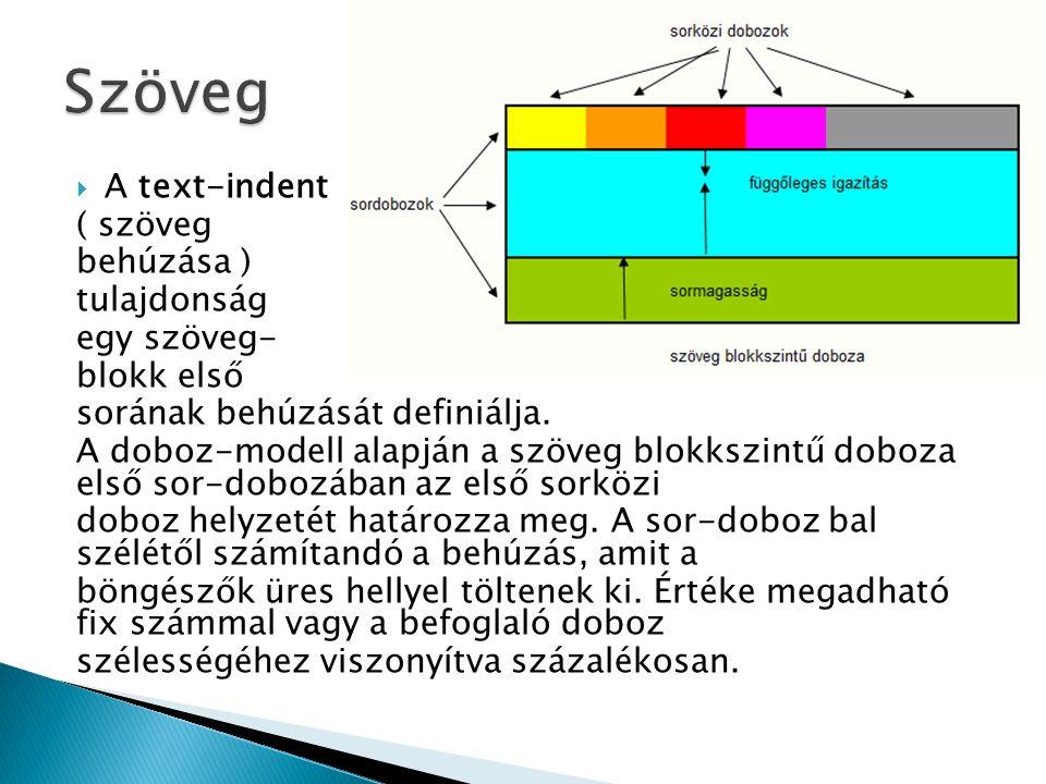  A text-indent ( szöveg behúzása ) tulajdonság egy szöveg- blokk első sorának behúzását definiálja. A doboz-modell alapján a szöveg blokkszintű doboz