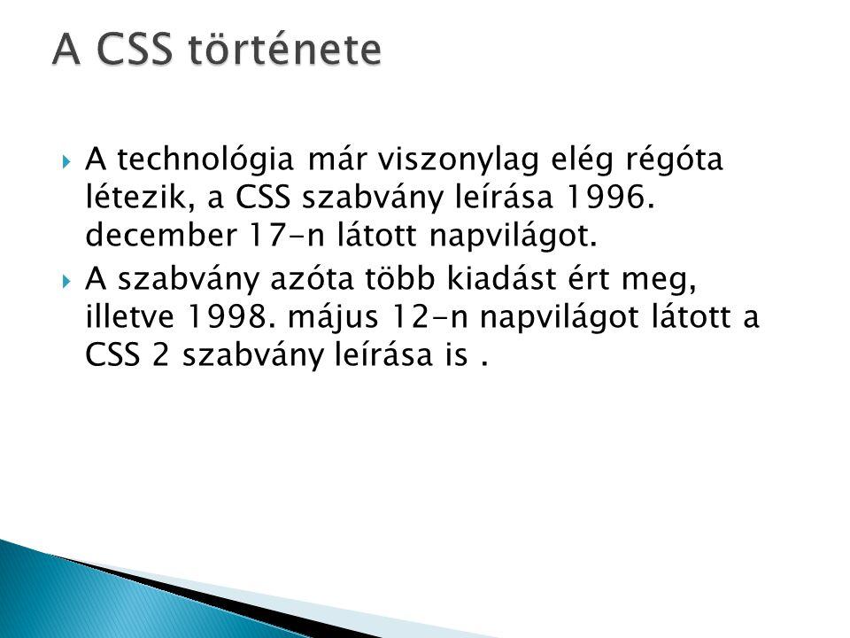  Bár a CSS1 specifikációja már 1996-ban elkészült, több mint három évbe telt, mire egy böngészőben megjelent a teljes megvalósítása.