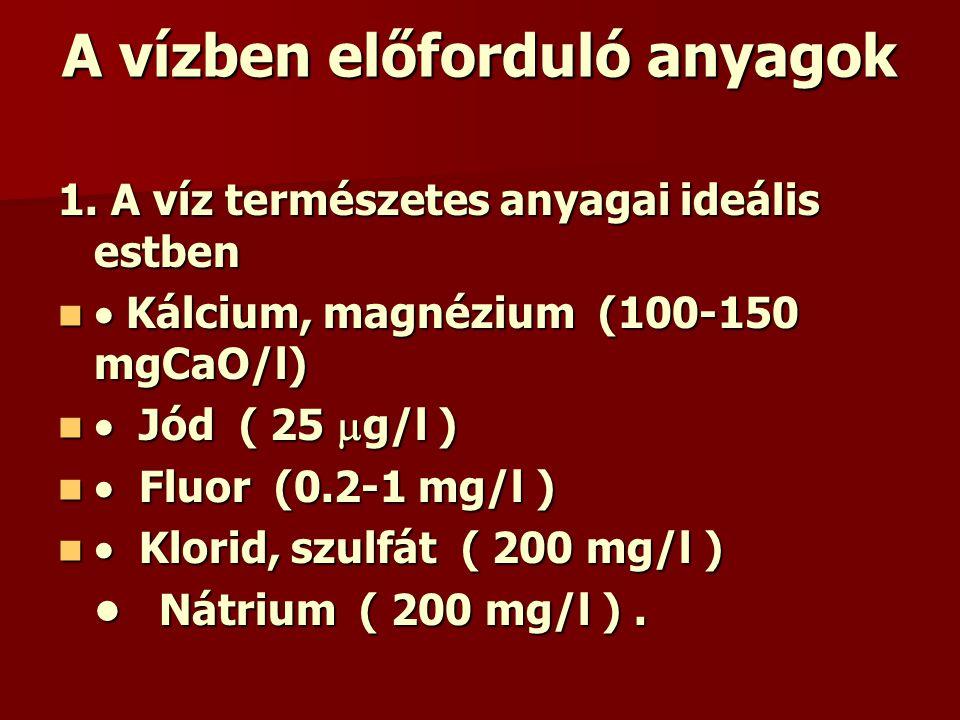 A vízben előforduló anyagok 1. A víz természetes anyagai ideális estben  Kálcium, magnézium (100-150 mgCaO/l)  Kálcium, magnézium (100-150 mgCaO/l)