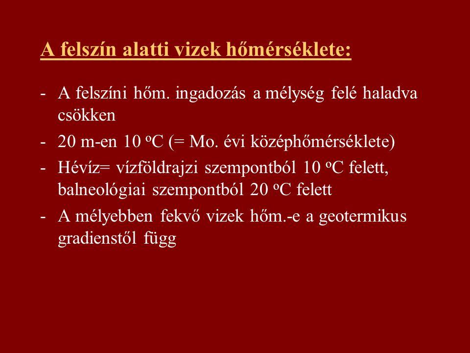 A felszín alatti vizek hőmérséklete: -A felszíni hőm. ingadozás a mélység felé haladva csökken -20 m-en 10 o C (= Mo. évi középhőmérséklete) -Hévíz= v