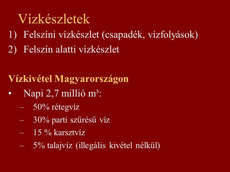 Vízkészletek 1)Felszíni vízkészlet (csapadék, vízfolyások) 2)Felszín alatti vízkészlet Vízkivétel Magyarországon Napi 2,7 millió m³: –50% rétegvíz –30