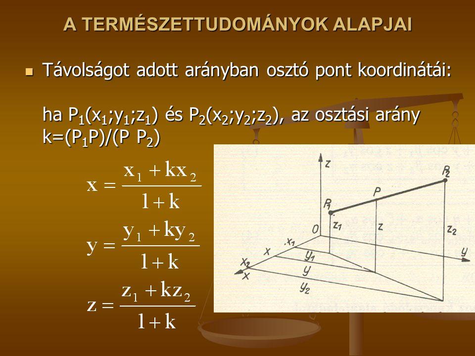 A TERMÉSZETTUDOMÁNYOK ALAPJAI Távolságot adott arányban osztó pont koordinátái: ha P 1 (x 1 ;y 1 ;z 1 ) és P 2 (x 2 ;y 2 ;z 2 ), az osztási arány k=(P 1 P)/(P P 2 ) Távolságot adott arányban osztó pont koordinátái: ha P 1 (x 1 ;y 1 ;z 1 ) és P 2 (x 2 ;y 2 ;z 2 ), az osztási arány k=(P 1 P)/(P P 2 )