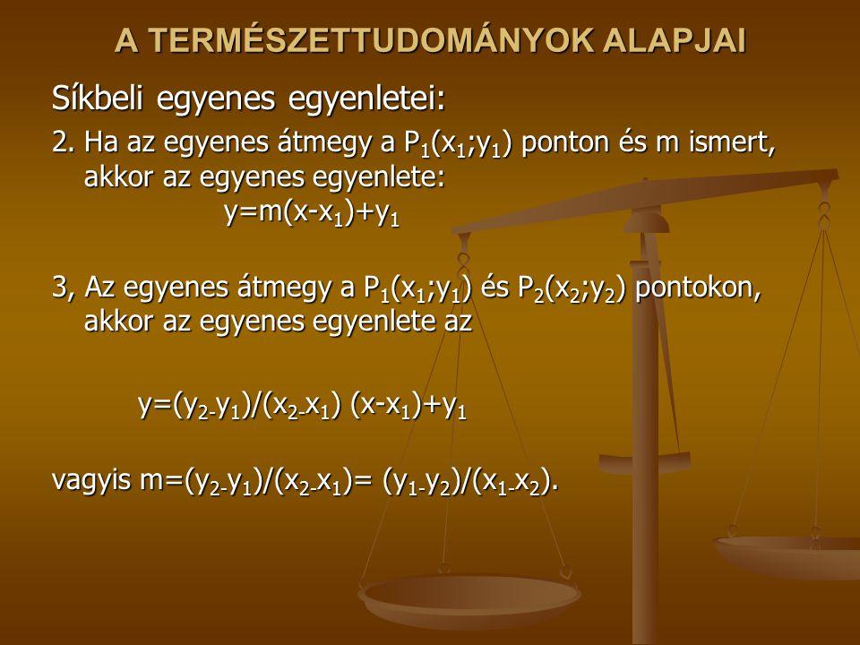 A TERMÉSZETTUDOMÁNYOK ALAPJAI Síkbeli egyenes egyenletei: 2.Ha az egyenes átmegy a P 1 (x 1 ;y 1 ) ponton és m ismert, akkor az egyenes egyenlete: y=m(x-x 1 )+y 1 3, Az egyenes átmegy a P 1 (x 1 ;y 1 ) és P 2 (x 2 ;y 2 ) pontokon, akkor az egyenes egyenlete az y=(y 2- y 1 )/(x 2- x 1 ) (x-x 1 )+y 1 y=(y 2- y 1 )/(x 2- x 1 ) (x-x 1 )+y 1 vagyis m=(y 2- y 1 )/(x 2- x 1 )= (y 1- y 2 )/(x 1- x 2 ).