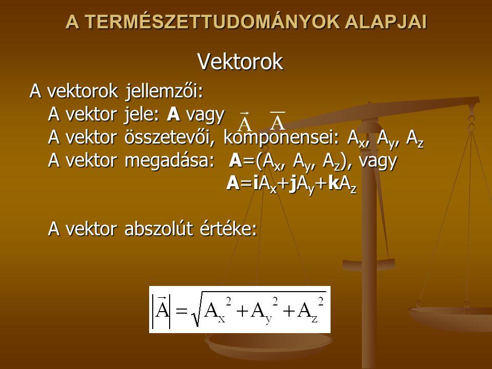 A TERMÉSZETTUDOMÁNYOK ALAPJAI Vektorok A vektorok jellemzői: A vektor jele: A vagy A vektor összetevői, komponensei: A x, A y, A z A vektor megadása: A=(A x, A y, A z ), vagy A=iA x +jA y +kA z A vektor abszolút értéke: