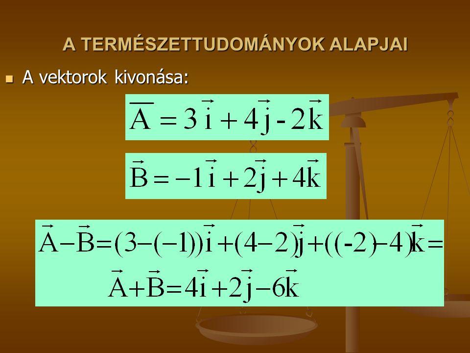 A TERMÉSZETTUDOMÁNYOK ALAPJAI A vektorok kivonása: A vektorok kivonása: